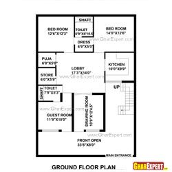 50 gaj area house layout plan plan 1 for 100 sq ft bedroom layout