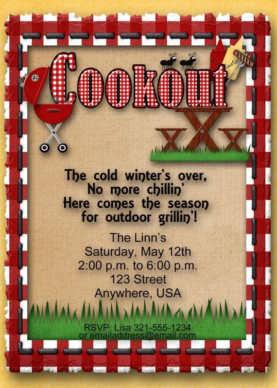 cookout bbq barbecue summer party invitation 4th of july labor
