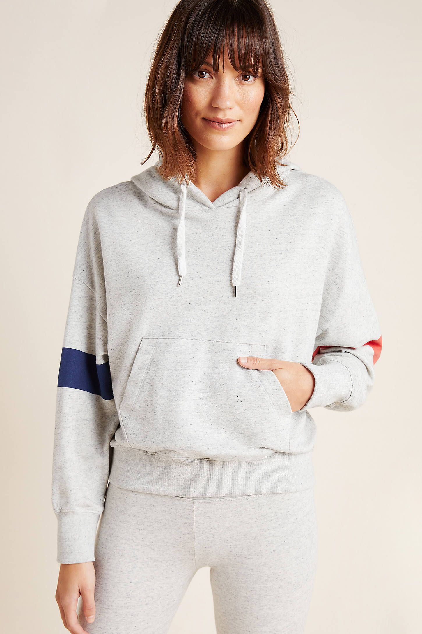 Sundry Striped Hoodie by in Grey Size: M, Women's Activewear at Anthropologie
