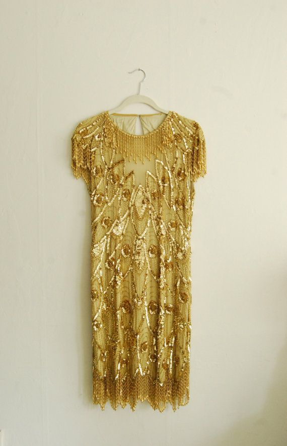 Gold 1920's style flapper dress on Etsy, $85.00