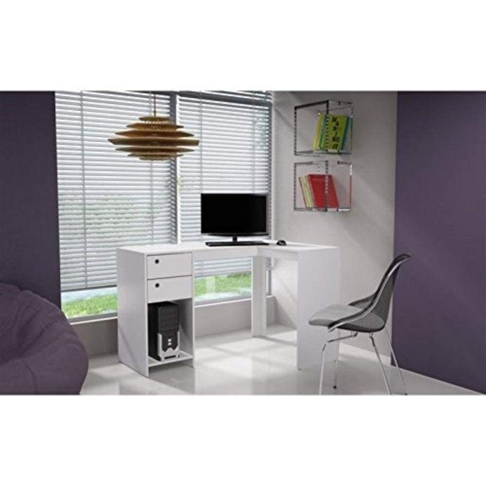 Modest Palermo Classic L Shaped Desk With 2 Drawers And 1 Cubby In White In 2020 Home Oak Desk Desk