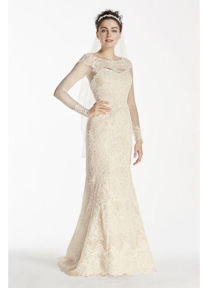 Oleg Cassini Illusion Long Sleeve Wedding Dress Style CWG712