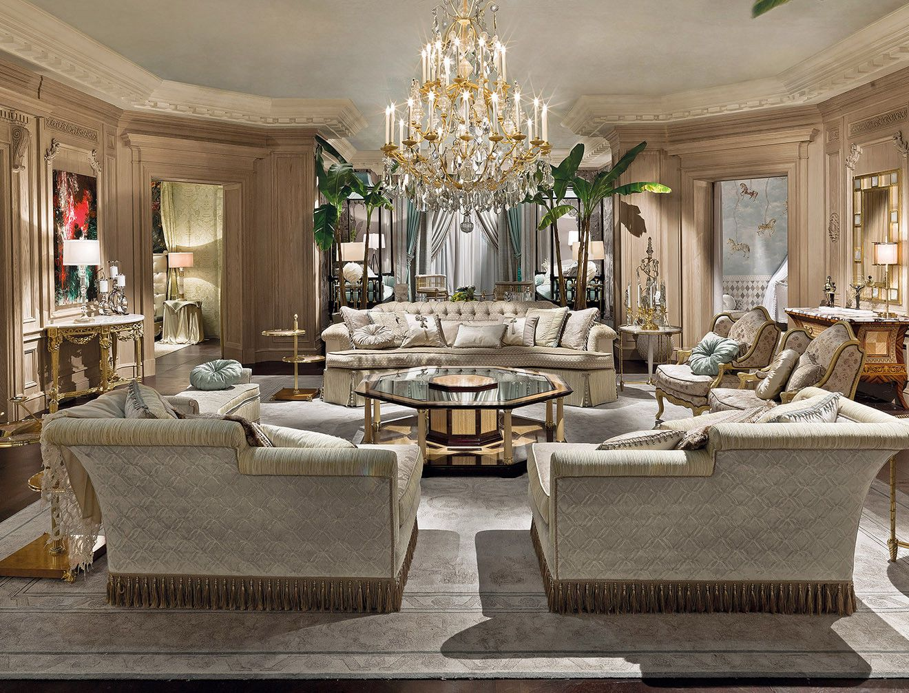 Luxury Italian Living Room Interior Design By Provasi With Elegant Chandelier