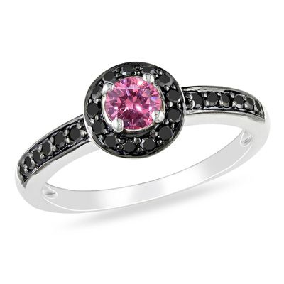 tw enhanced pink and black diamond frame engagement ring in 10k - Black And Pink Wedding Rings