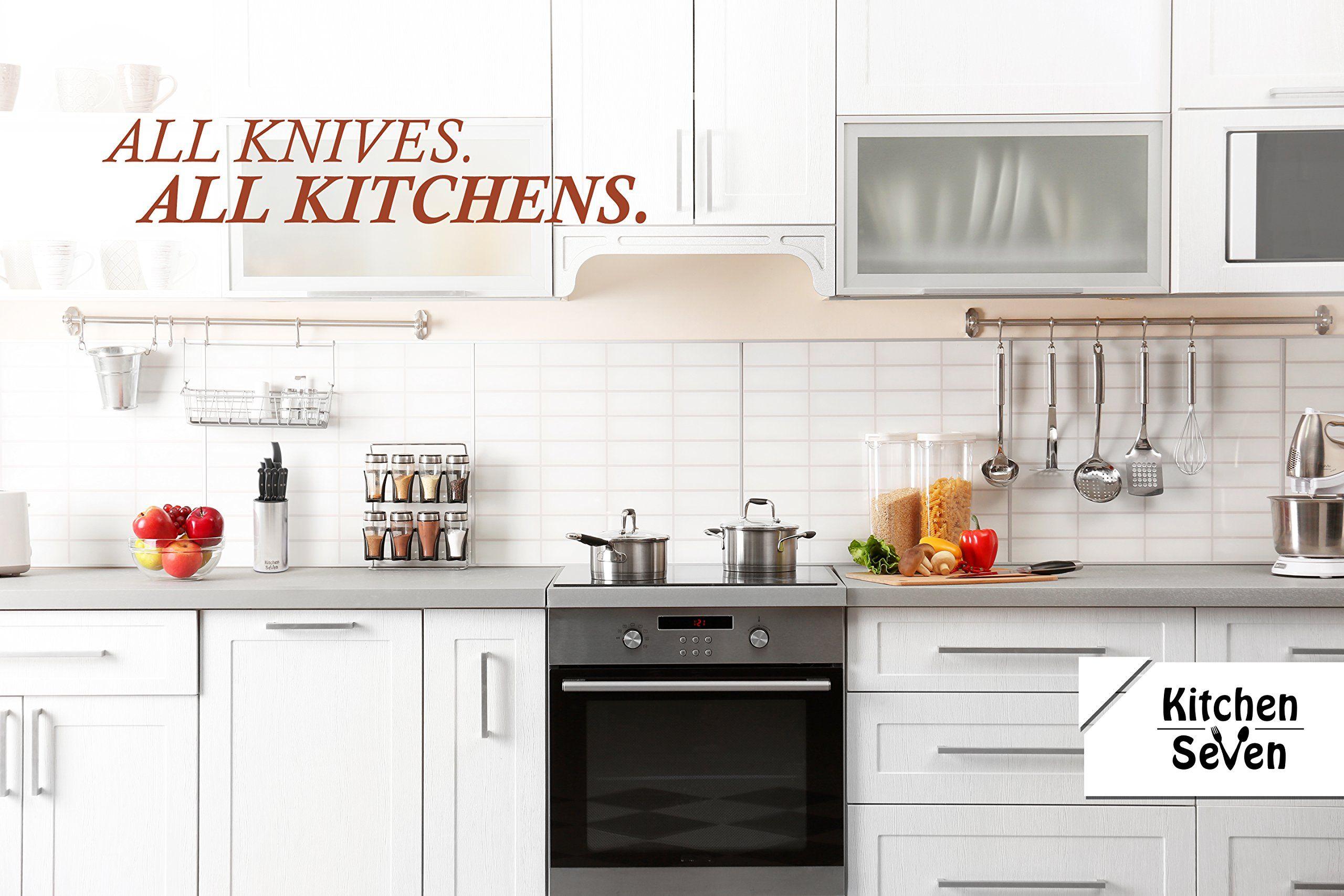 Kitchen Seven Premium Chef Universal Knife Block Stainless Steel Kitchen Knife Holderwithout Knives Kitchen Cabinets Modern Kitchen Interiors Kitchen Remodel