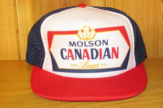 4b19c7470fe89 MOLSON CANADIAN Beer Promo Original Vintage 80s Navy Blue Mesh Trucker  Snapback Hat Lager Biere Brewing Cap Rare Big Logo Ballcap Wilson M-L at  Hats Forward