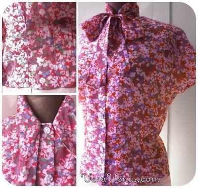 Bluse mit Schleife - Pussycat Bow blouse,size UK s/m | Damen Tops ...