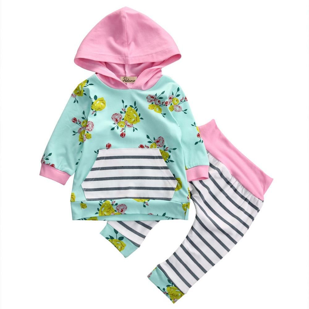 2d421e117 Baby Girl Floral Long Sleeve Hooded Top T-Shirt Striped Long Pants ...