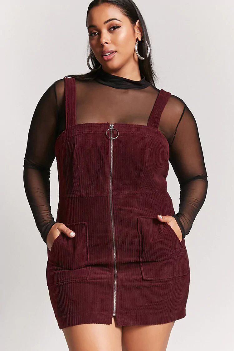 Product nameplus size corduroy overall dress categoryplussize