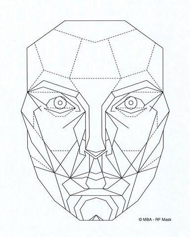 Da Vinci S Ratio Of A Perfect Face Geometric Face Face Drawing Face Template