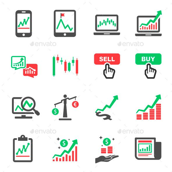 Market And Ping Mall Vector Icons Set
