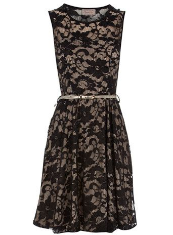 a444190c36c89 Black sleeveless lace skater dress with nude lining and belt ...