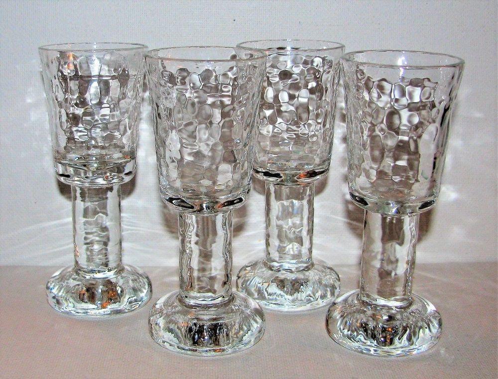 X4 Finland Iittala Crystal Footed Liqueur Glasses Icicle Style Kalinka Pattern Ebay Mason Jar Wine Glass