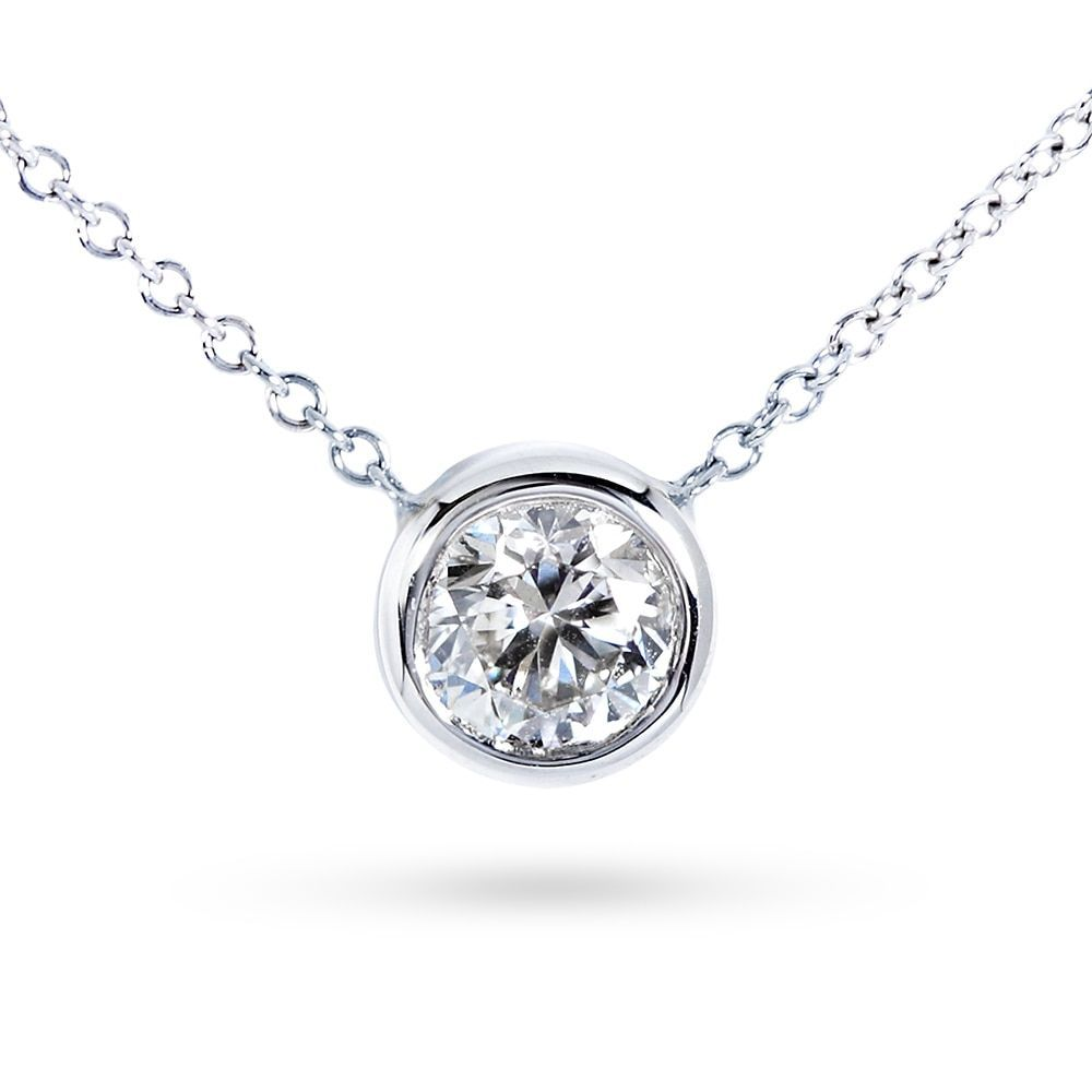 Angara Bezel-Set Moissanite Necklace for Women in Yellow Gold IVv6c8I2f