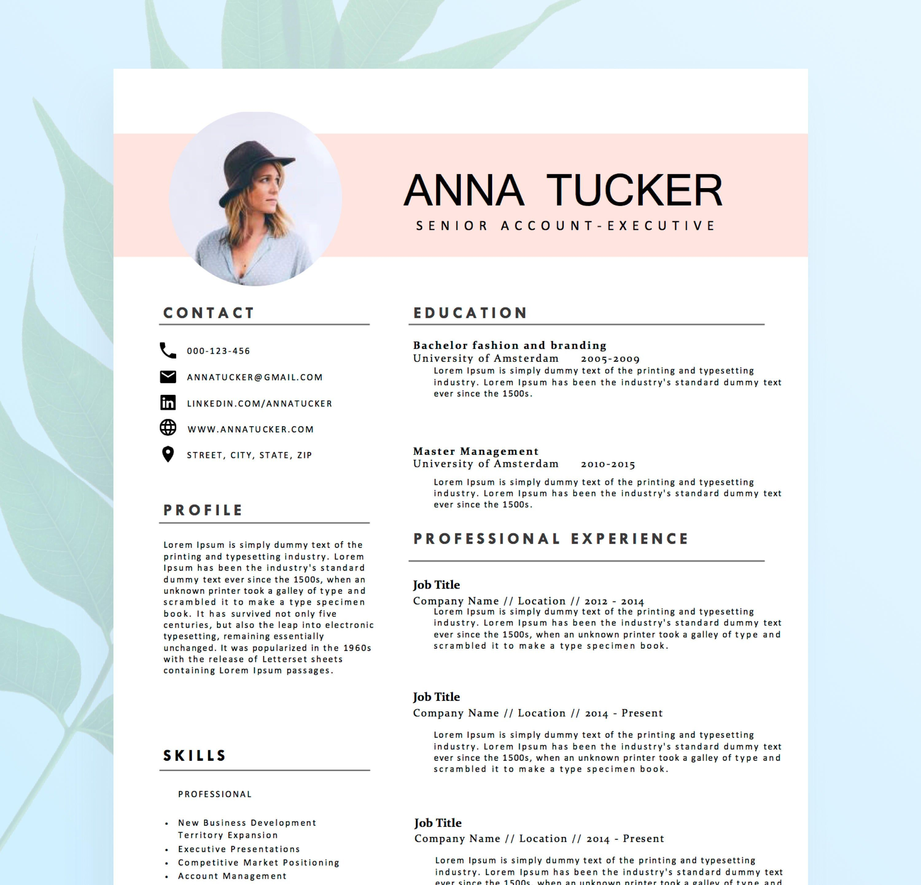 Modern Resume Template Cv Template Professional And Etsy Cv Template Professional Resume Words Resume Template