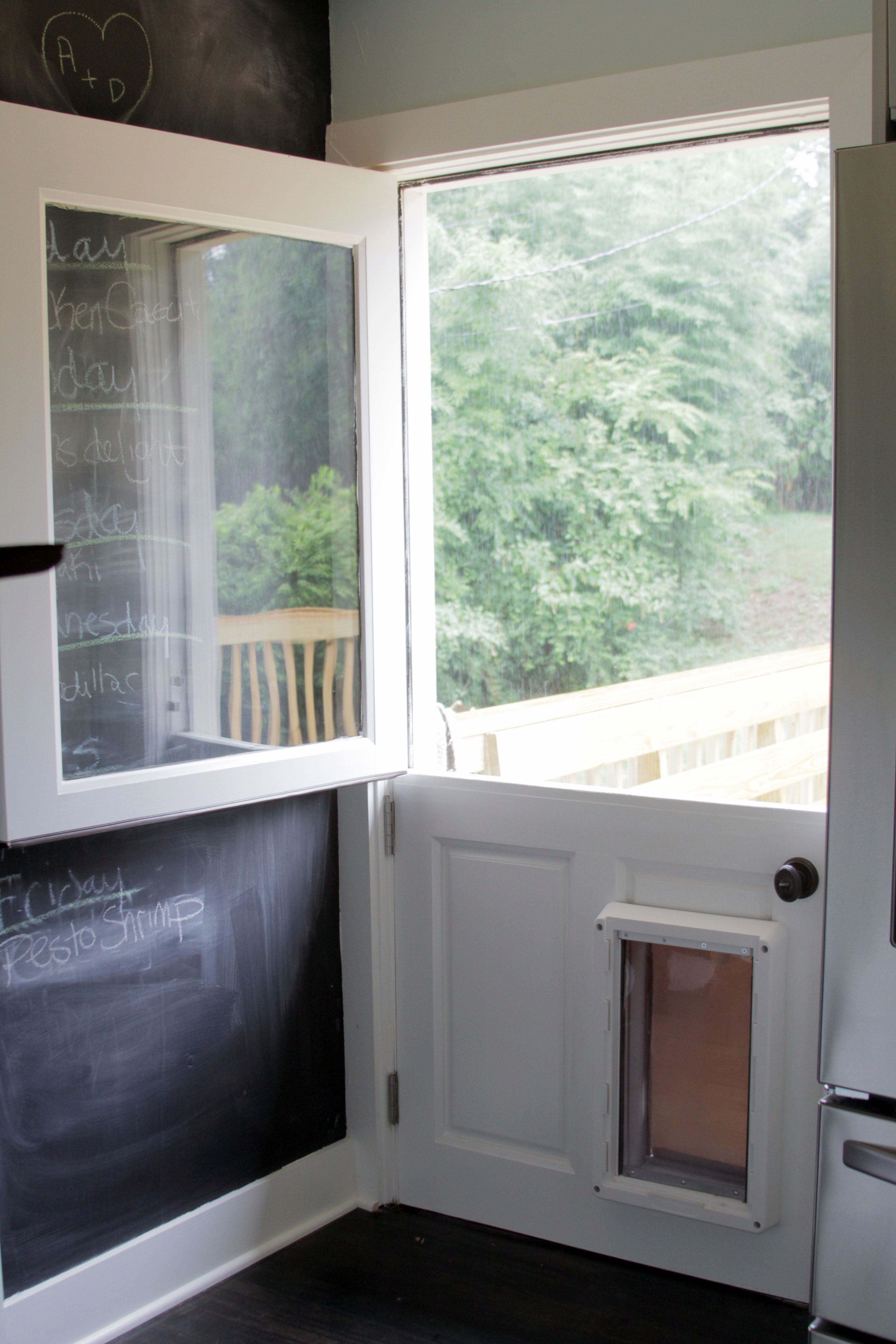 Dutch Door W/dog Entrance. I Love The Clear Glass Window Pane.