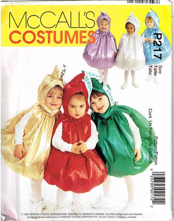 Toddler Baby Hershey Kiss Costume Sewing Pattern Sewing Pattern Adorable Toddler Halloween Costume Patterns