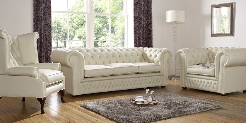 Charmant Cream Leather Chesterfield Sofa Set