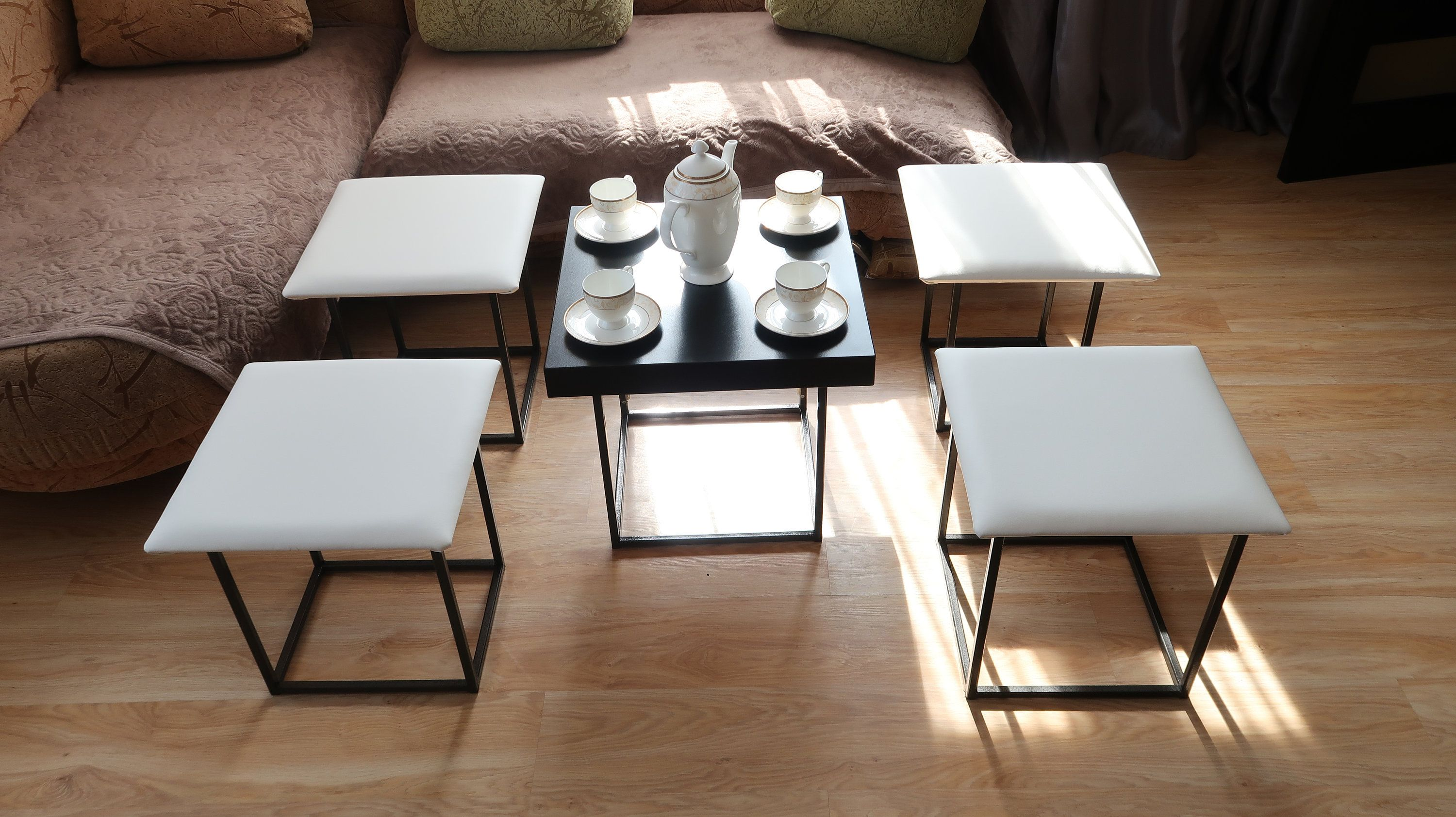 6 Cafe Stoelen.Cube 6 In 1 Transformer Ottoman Coffee Table Or 5 Chair
