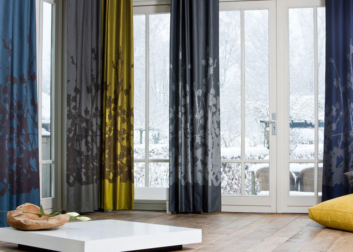 Artelux gordijnen Julia - blauw, geel, grijs | Gordijnen | Pinterest