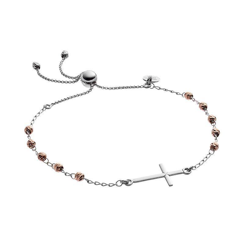 """Two Tone Sterling Silver Sideways Cross Beaded Lariat Bracelet, Women's, Size: 9"""", Grey"""
