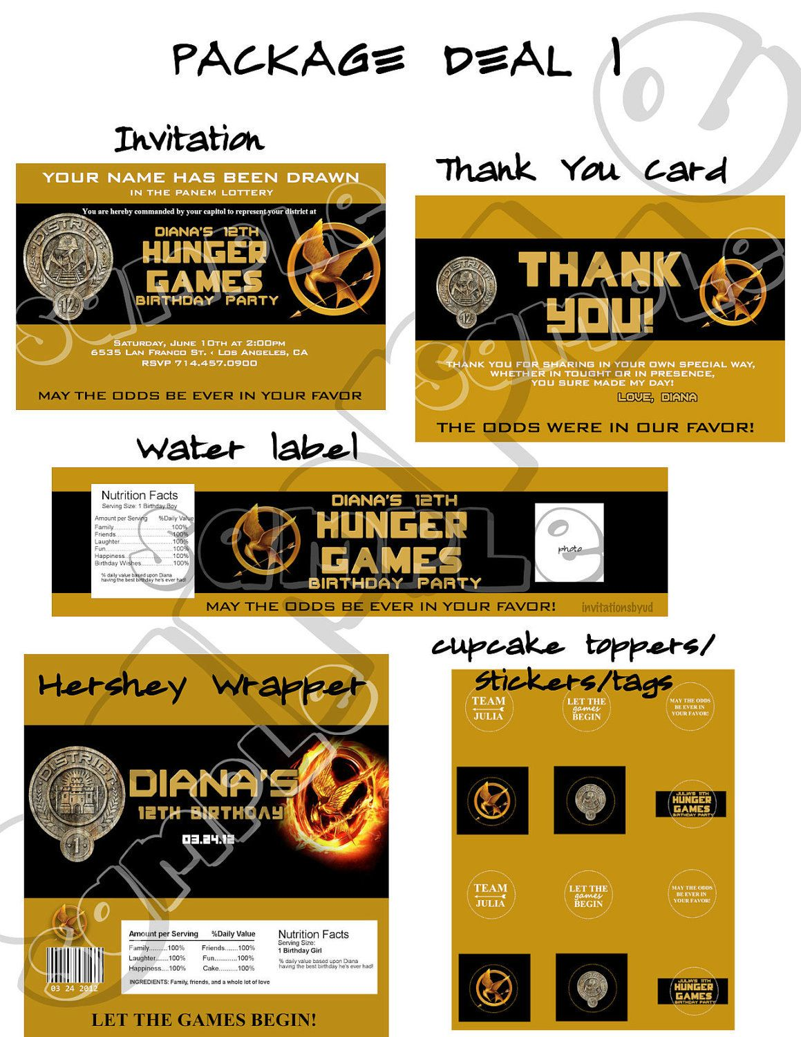 The Hunger Games Invitation Birthday Party Printable Package Digital ...