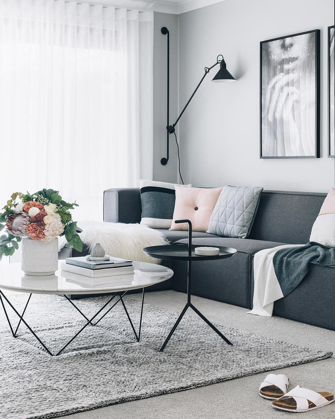 modern interior design ideas for family homes dark sofa pink