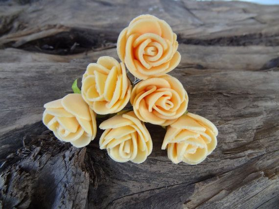 Salmon Color Rose Wedding Hair Pins Salmon Color by sevinchjewelry