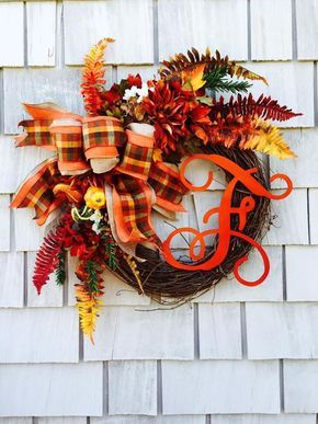 Fall Wreath, Monogram Wreath, Wreath for Fall with Letter, Thanksgiving Wreath…