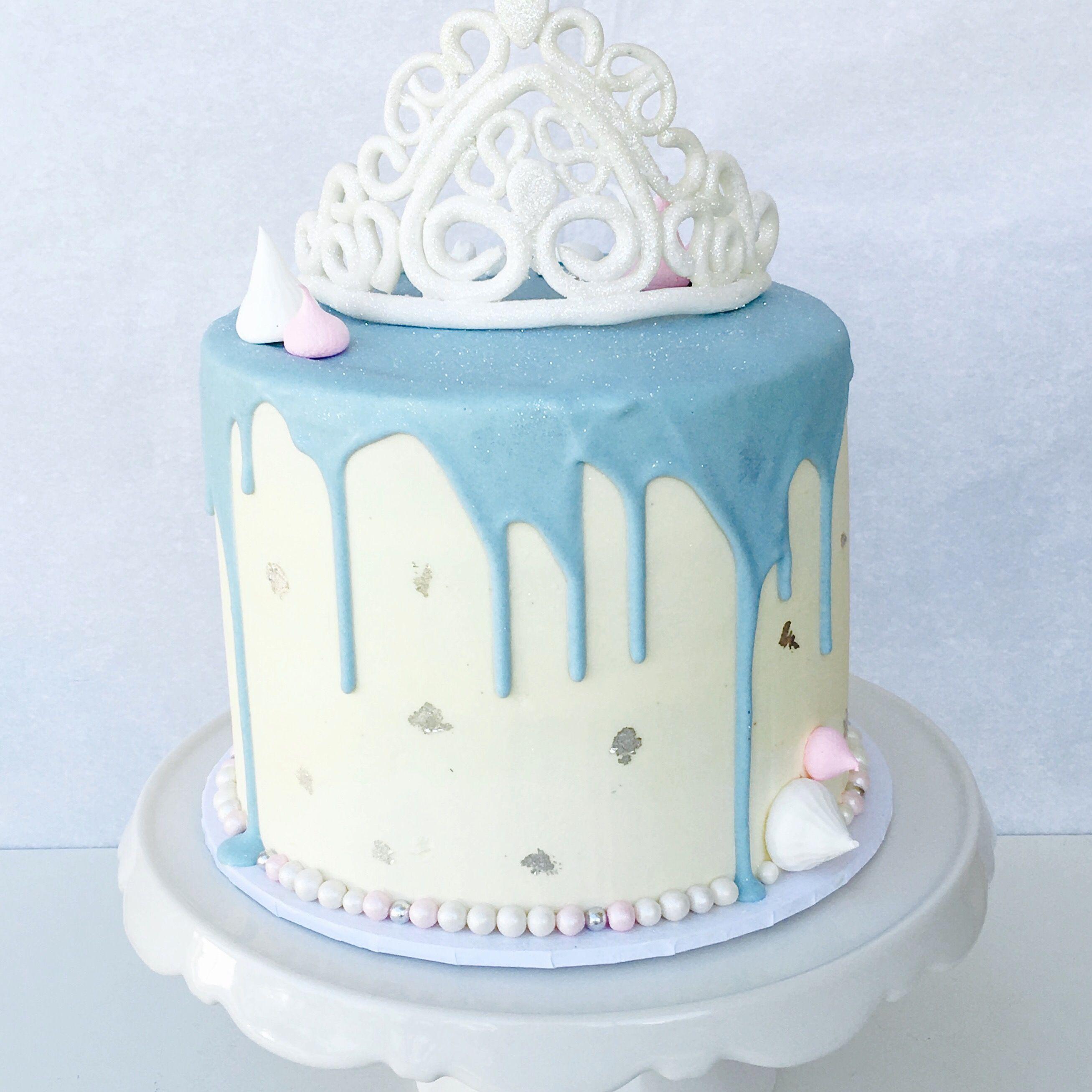 Cinderella Cake Handmade Fondant Crown Silver Leaf