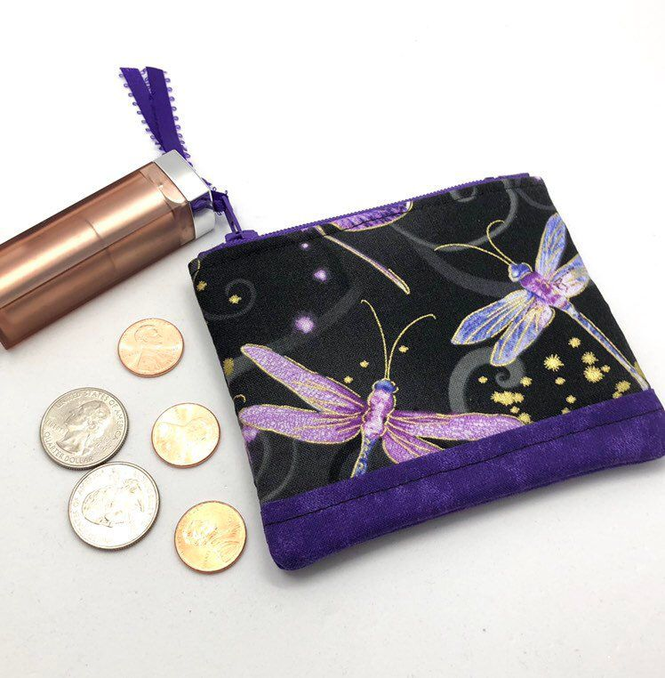 Dragonfly Fabric Zipper Pouch, ID Card Holder, Quilted Coin Purse