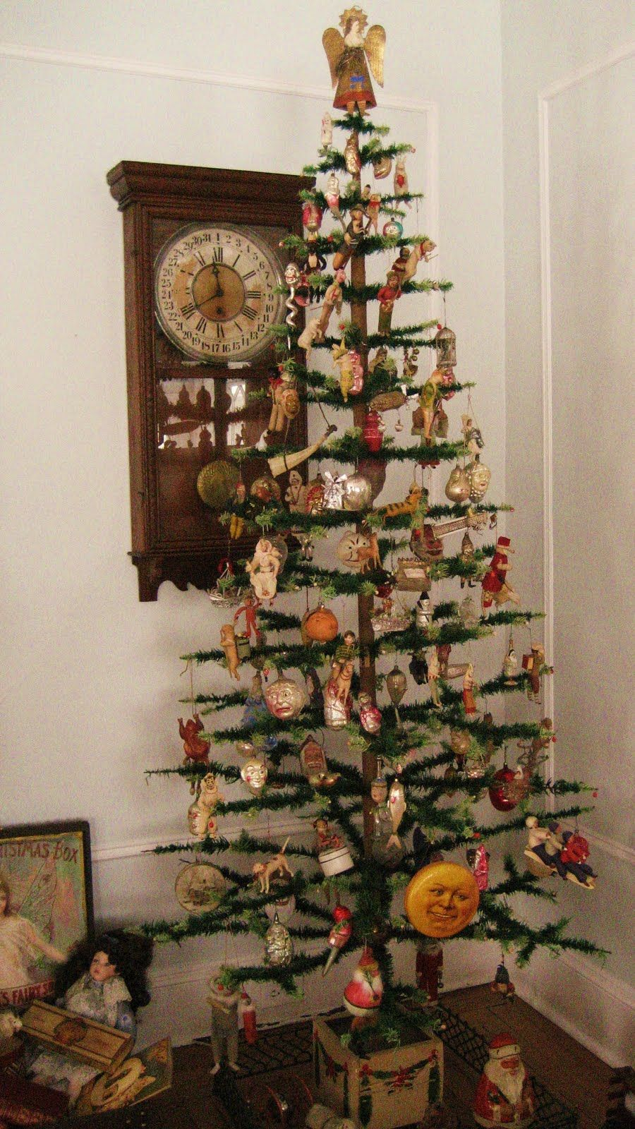 Antique feather tree decorated with antique glass dresden Vintage glass christmas tree ornaments