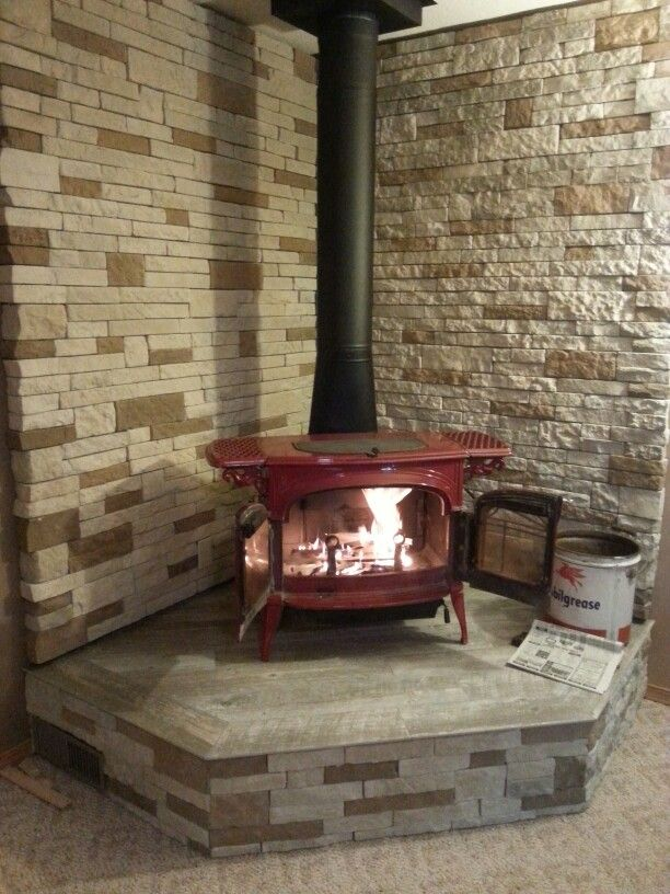 Our New Vermont Casting Wood Stove With Airstone Dry Stack