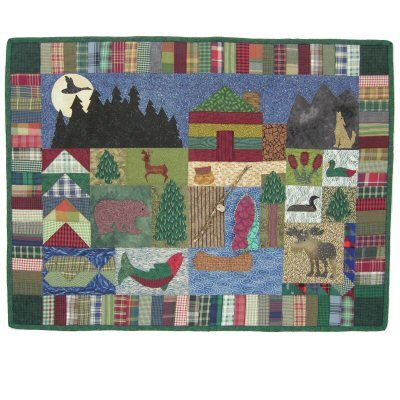 Northwoods Cabin Quilt Pattern http://www.victorianaquiltdesigns.com/VictorianaQuilters/PatternPage/NorthwoodsCabin/NorthwoodsCabin.htm #quilting #cabin #forest #fishing