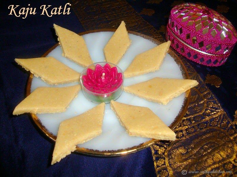 Kaju Katli / Kaju Katli Recipe / Cashew nut Burfi / Kaju Burfi Recipe - Easy Diwali Sweets