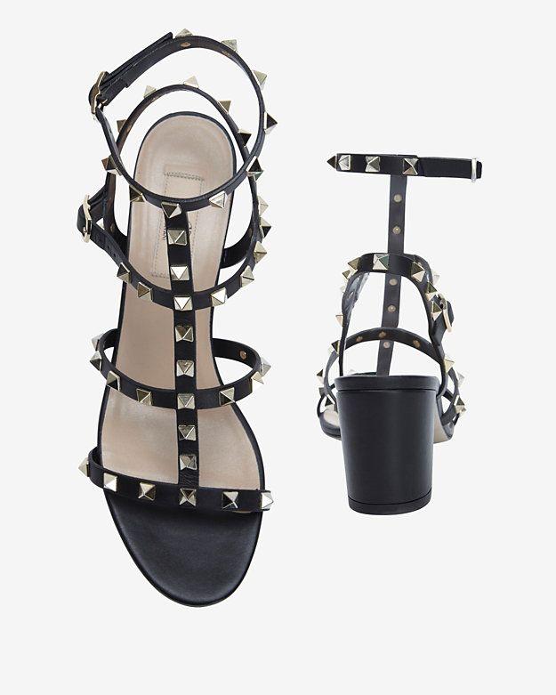 b065b193684 Valentino Rockstud Gladiator Mid Chunky Heel Sandal  Black