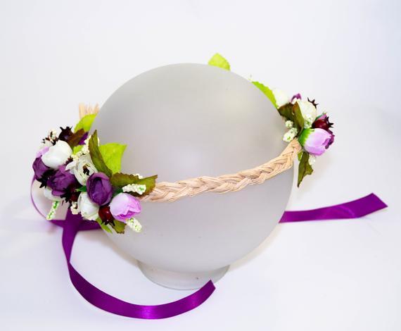 Purple bridal crown Lilac flower crown Side flower crown Bridal shower crown Burgundy rose  Big flower crown Wildflower bohemian flower crow