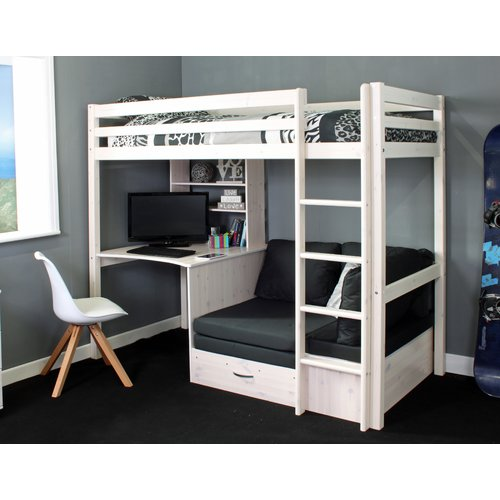 Isabelle Max Cutler High Sleeper Bed With Shelf And Desk Loft Bed With Couch Diy Loft Bed Room Design Bedroom
