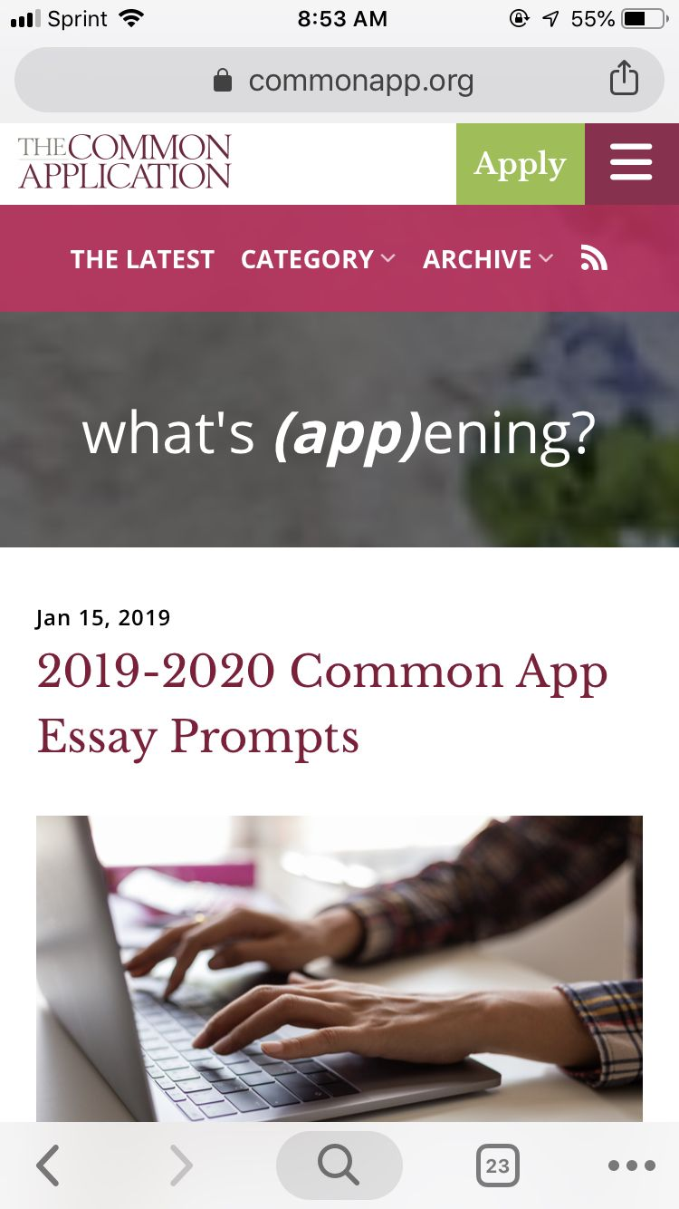 The commonapp has announced that essay prompts for 2019