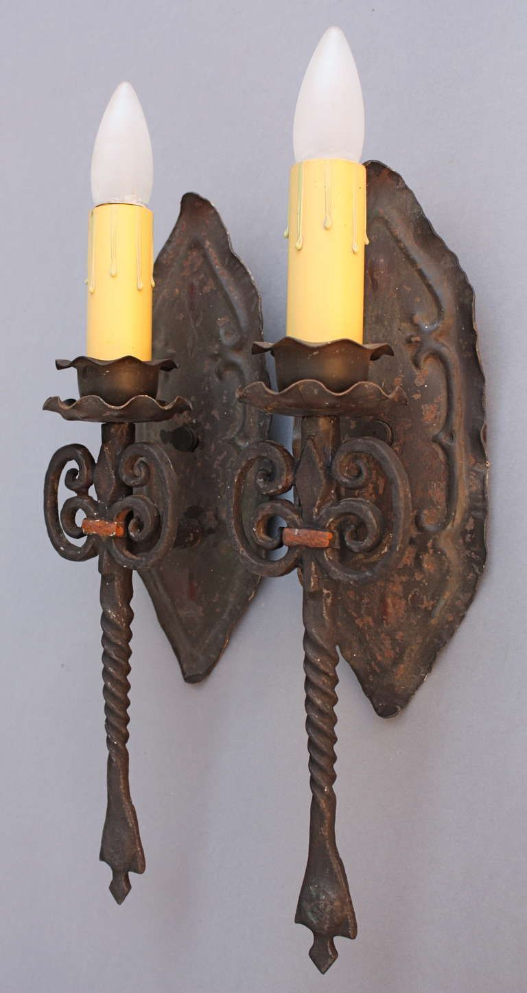 1920s Pair Of Single Spanish Revival Sconces From A Unique Collection Antique And Modern Wall Lights At