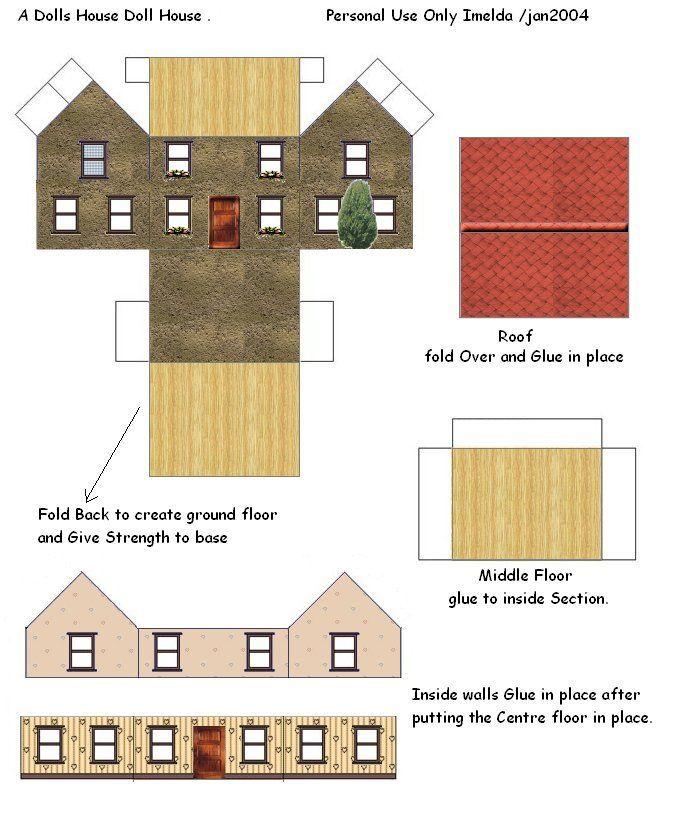 Printable Dollhouse Paper House Template Cardboard Box Houses