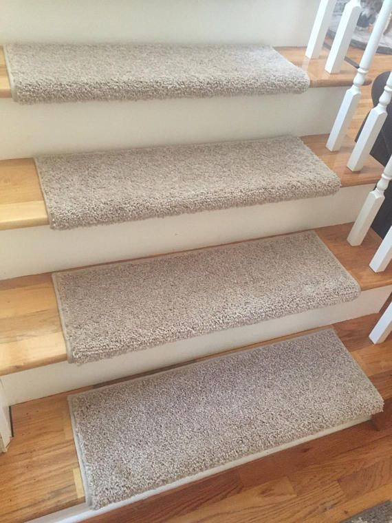Almond Bisque True Bullnose™ Carpet Stair Tread Cover With | Stair Treads For Carpeted Stairs | Wood Stairs | Laminate | Anti Slip Stair | Basement Stairs | Skid Resistant
