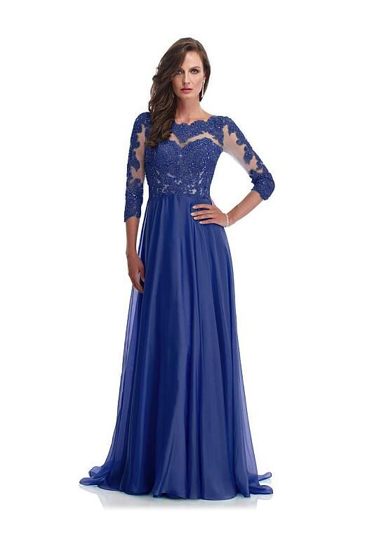 92ad1d7bff1d Mother of The Bride Dresses Notched A-Line Chiffon Royal Blue ...