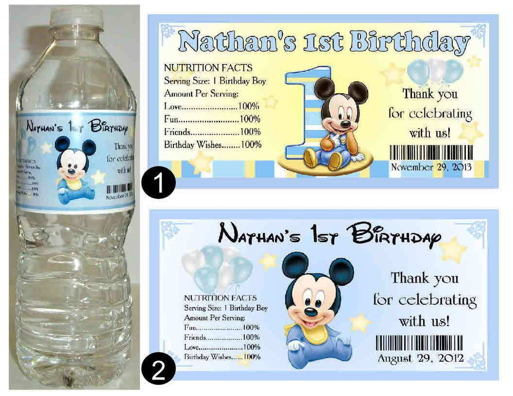 Details about 20 BABY MICKEY MOUSE 1ST BIRTHDAY WATER BOTTLE – Baby Mickey 1st Birthday Invitations