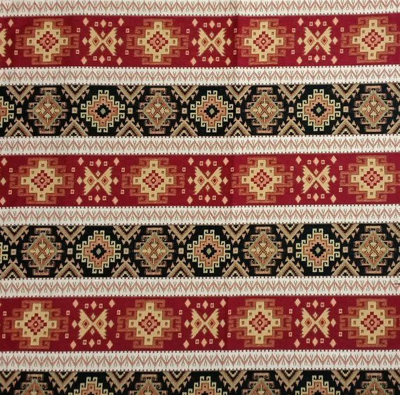 Aztec Navajo Fabric Ethnic Tribal Style Chenille Upholstery Fabric Ach-052 Striped Kilim Fabric by the YardMetre Cream Yellow
