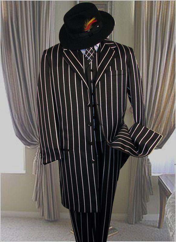 Similiar Black And White Pinstripe Suit Keywords