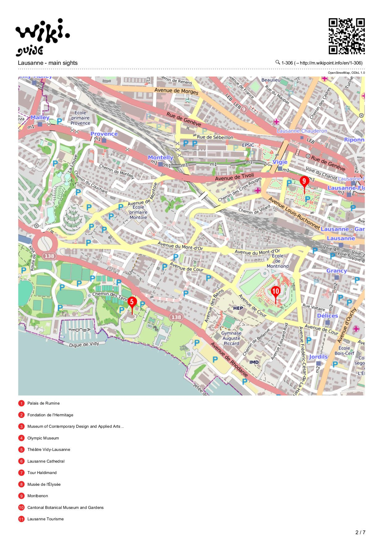Map of Lausanne Lausanne main sights Pinterest Lausanne