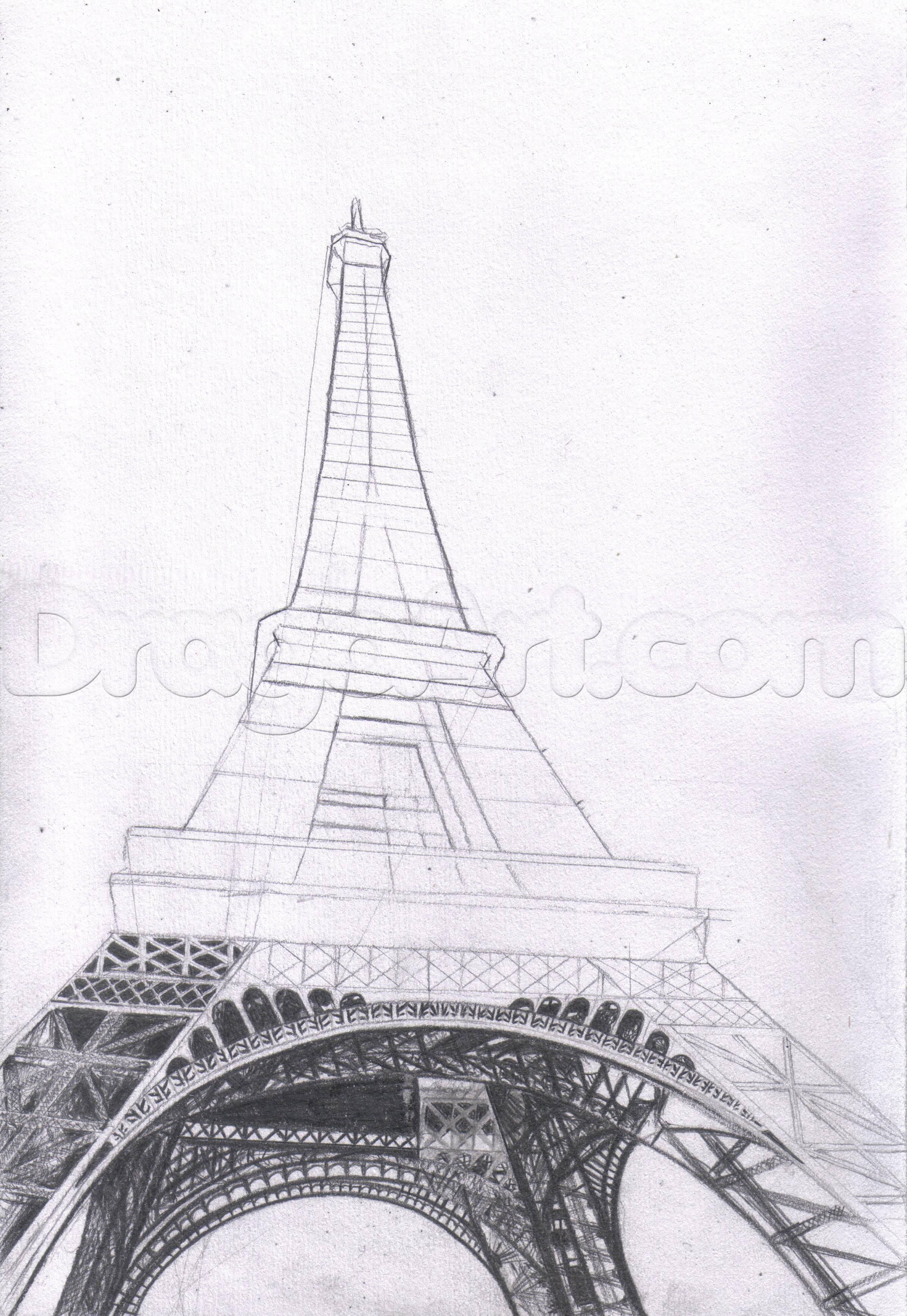 How to draw the eiffel tower step by step buildings landmarks