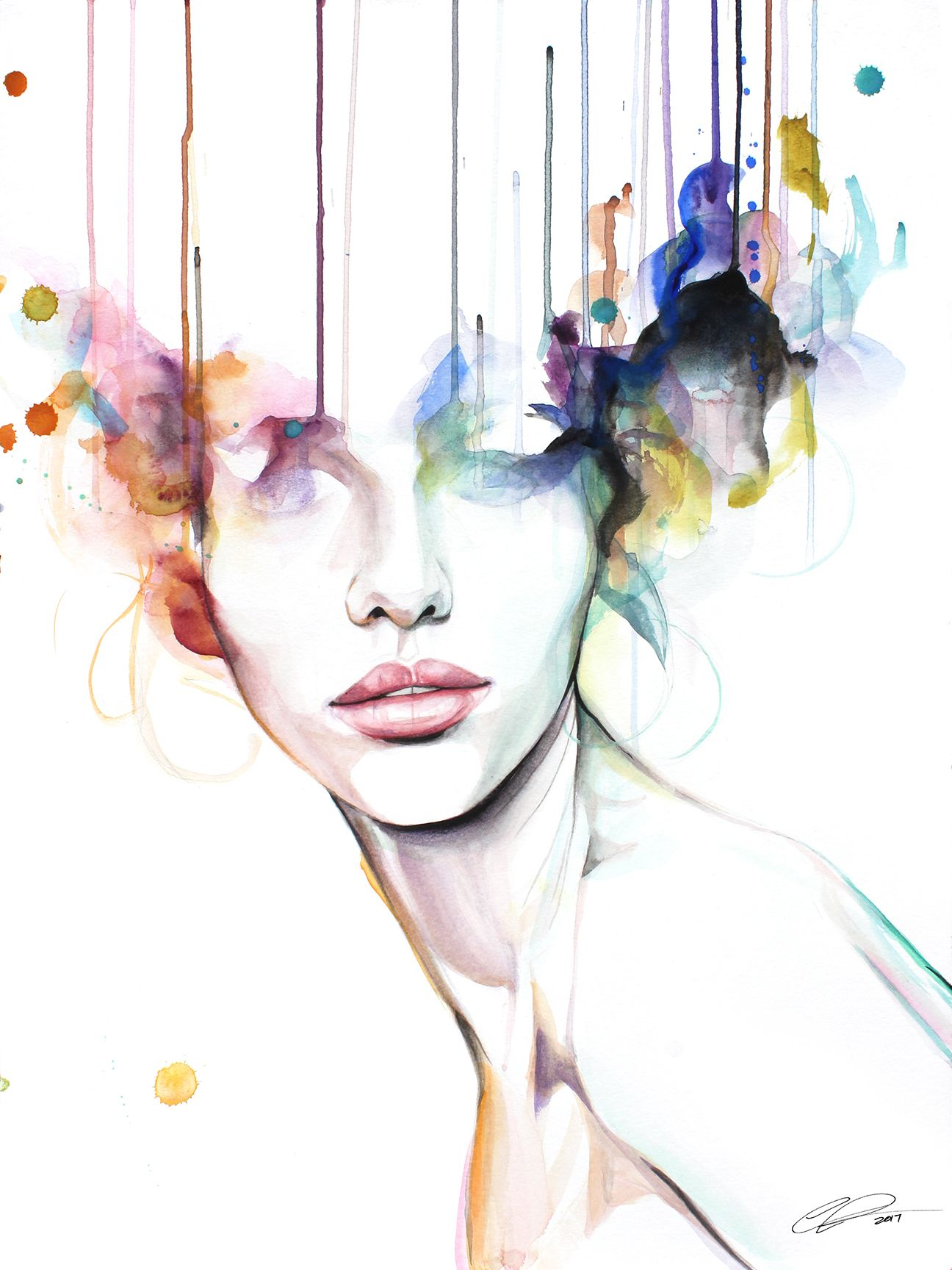 Wildfire Contemporary Watercolor Portrait Painting By