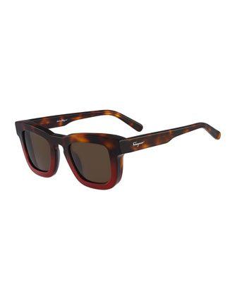 Salvatore Ferragamo Runway Plastic Sunglasses, Havana Red